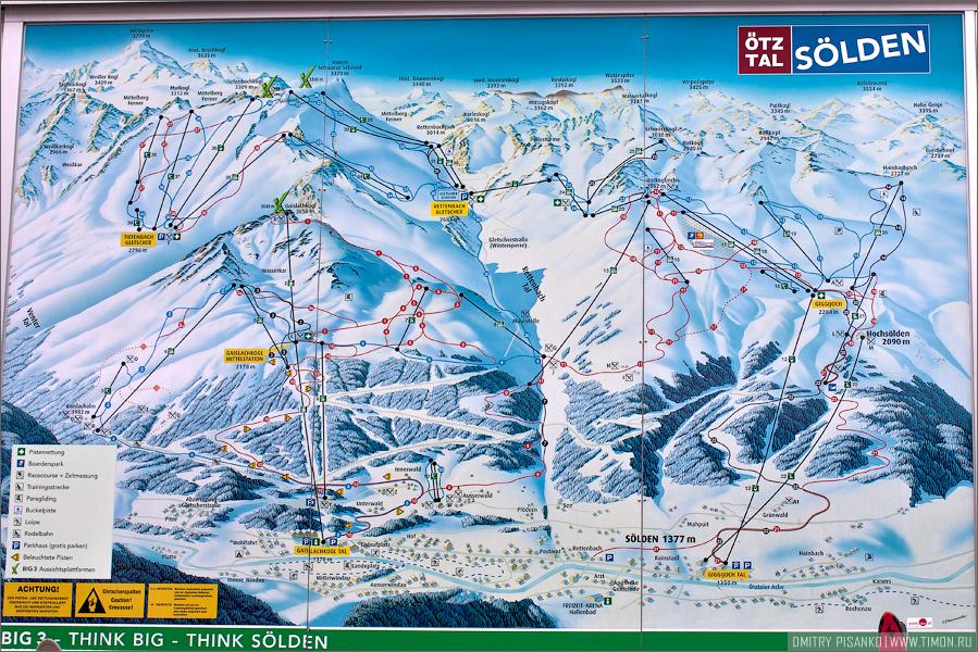 Австрия, Зельден 2009 - Горнолыжный отдых - Карта склонов