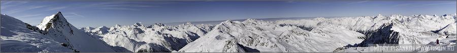 Австрия, Зельден 2009 - Горнолыжный отдых - Панорама альп