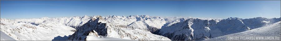 Австрия, Зельден 2009 - Горнолыжный отдых - Панорама гор